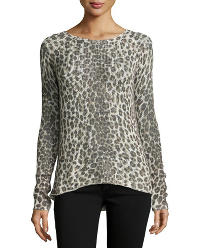 Zan Leopard Cashmere Sweater w/ Deep V Back, Multi