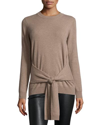 Cashmere Tie-Front Crewneck Sweater