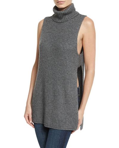 Shaker-Knit Turtleneck Apron Top
