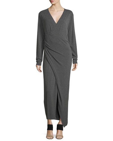 Donna Karan Long-Sleeve Faux-Wrap Maxi Dress