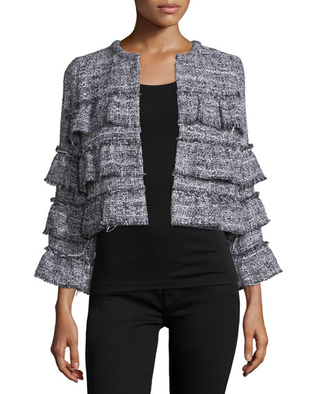 Tweed Tiered Ruffle Jacket w/Fringe