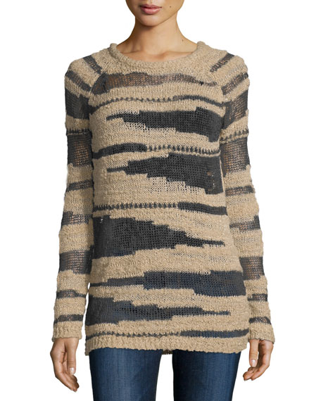 Hiche Metallic Yarn Open-Knit Sweater, Black/Gold