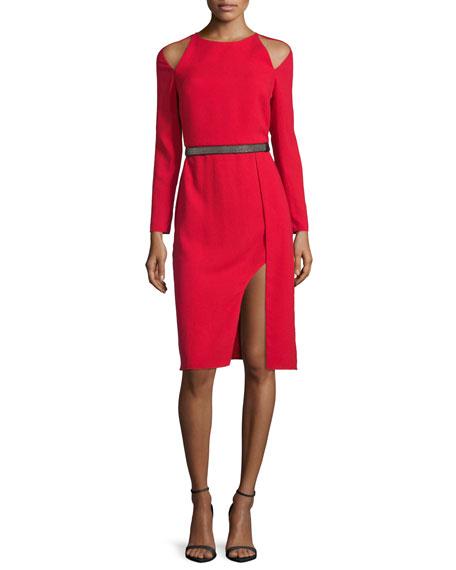 Cold-Shoulder Belted Cocktail Dress, Scarlet
