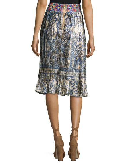 Mixed-Print Pleated Skirt, Hmong