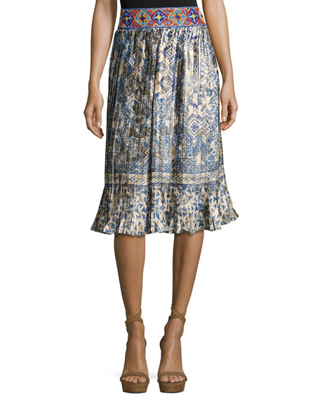 Hemant and Nandita Mixed-Print Pleated Skirt, Hmong