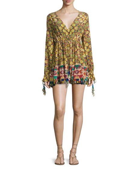 Hemant and Nandita Kaleidoscope-Print Tassel Mini Dress, Janpath