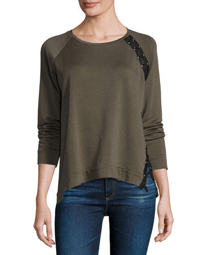 Darcey Lace-Up Sweatshirt, Army Green/Black