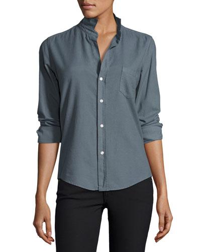 Barry Cotton Oxford Shirt, Blue Gray