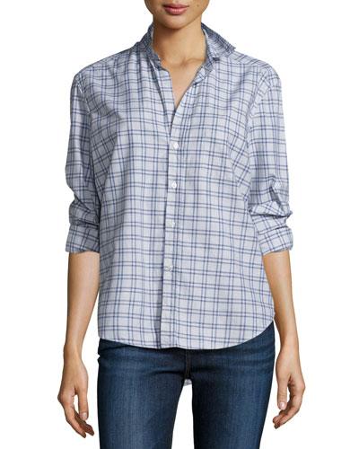 Eileen Check Button-Front Shirt, Blue/Heather Gray