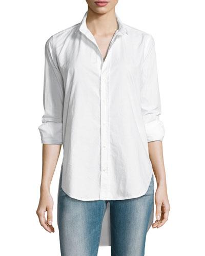Grayson High-Low Button-Down Shirt, Blue/White Stripe