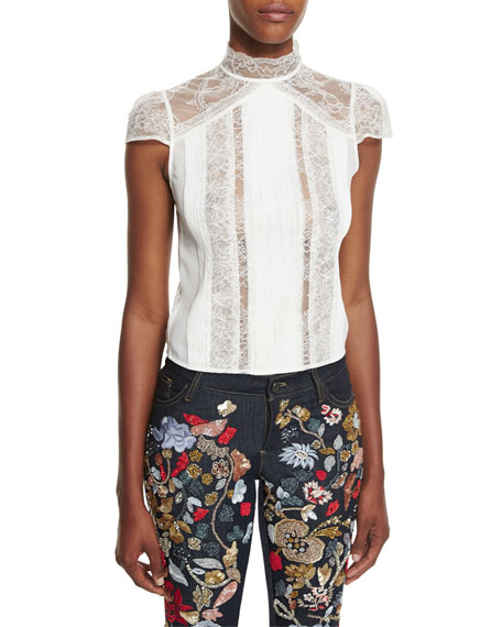 Alice + Olivia Isadora Mock-Neck Lace Top