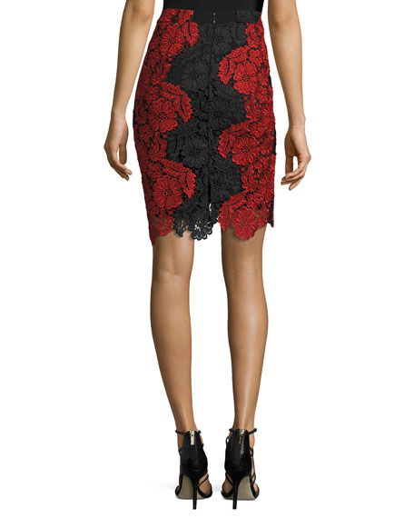 Farrel Floral-Lace Pencil Skirt, Black/Red
