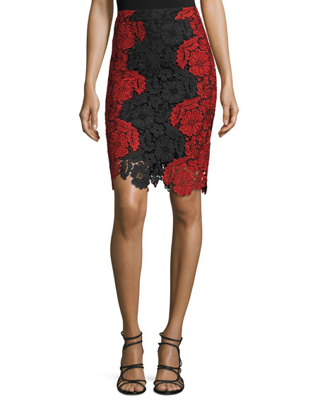 Farrel Floral-Lace Pencil Skirt, Black/Red
