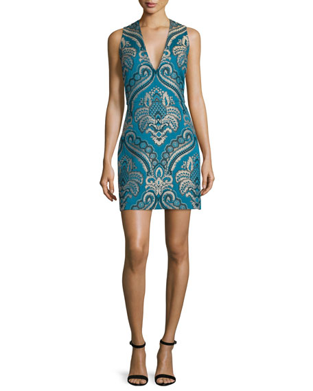 Alice + Olivia Natalee Paisley Sleeveless Sheath Dress