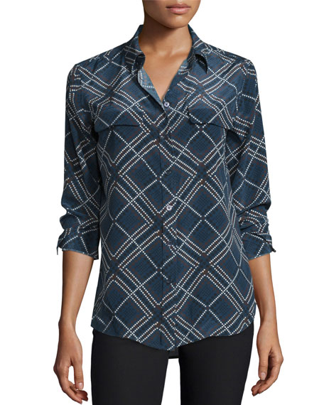 Equipment Slim Signature Argyle-Print Shirt, Peacoat