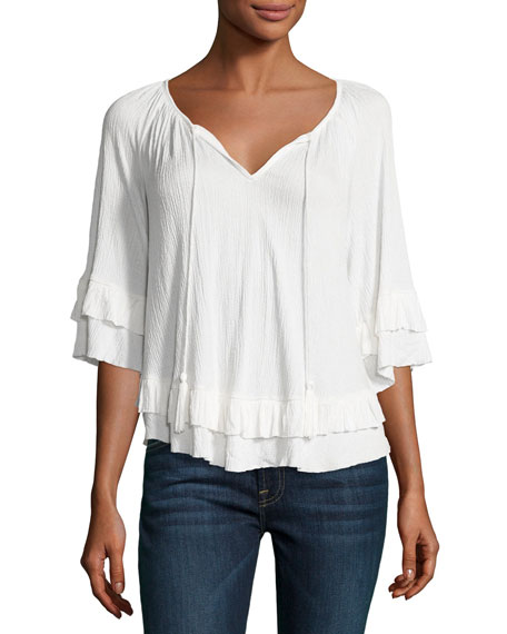 Gioannia Boho Bell Sleeve Top, White