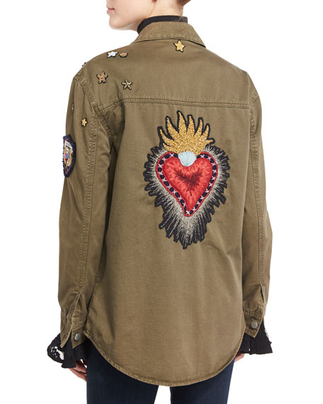 cinq a sept Canyon Embellished Shirt Jacket, Olive