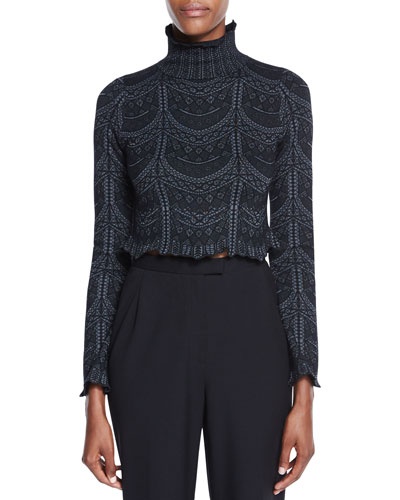 Phoebe Lace-Print Turtleneck Top, Black Cheap