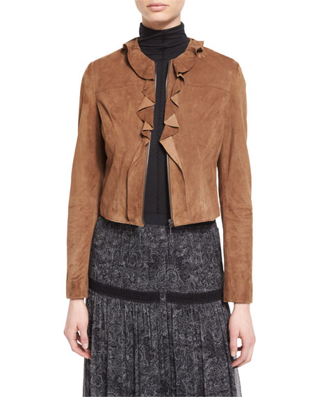 Elie Tahari Tosca Ruffled Cropped Suede Jacket, Amaretto