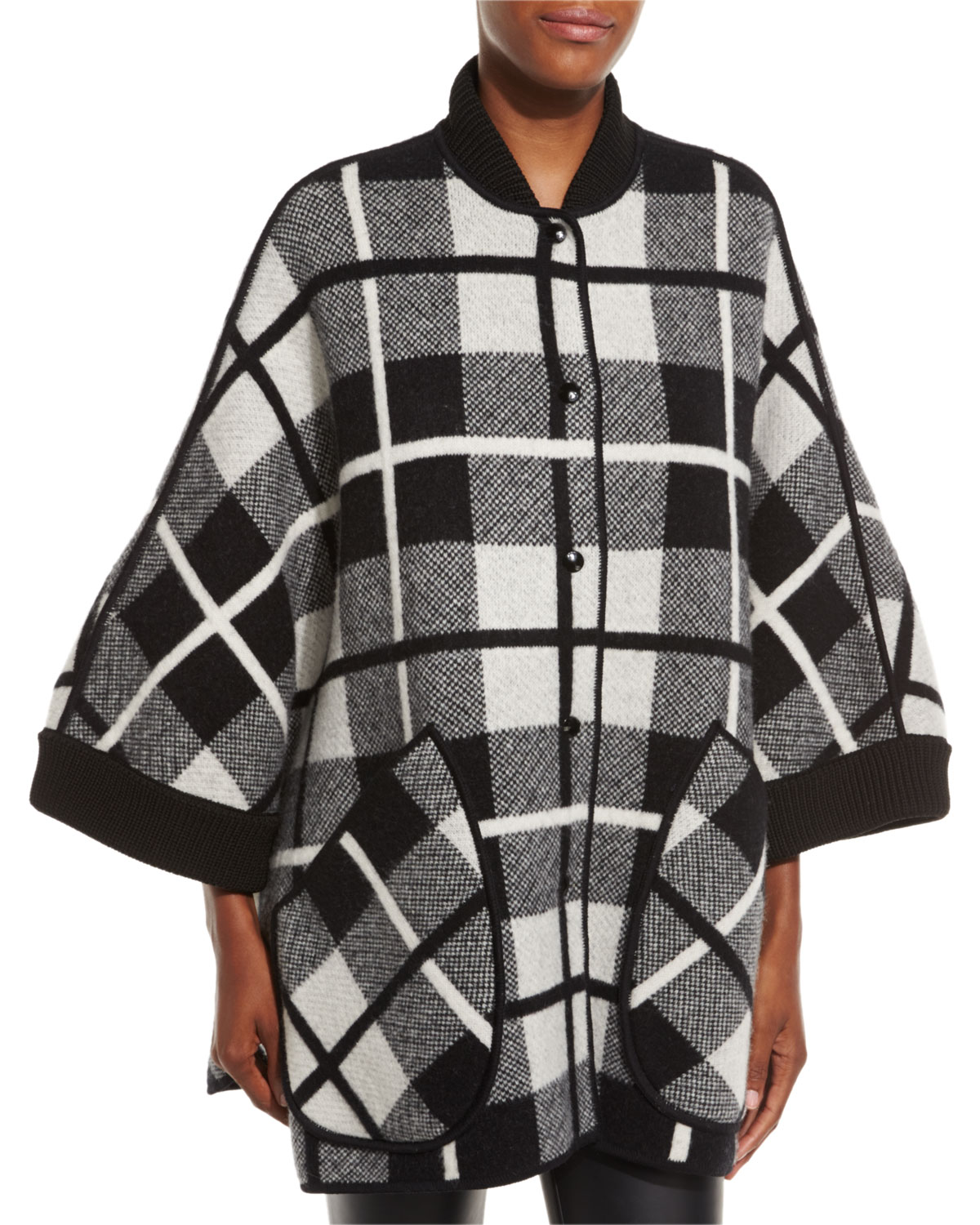 884fafabd22d M Missoni Madras Plaid Knit Wool Cape
