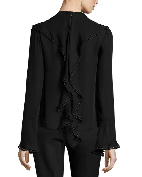 Frill Lace-Trim Cutout Silk Blouse