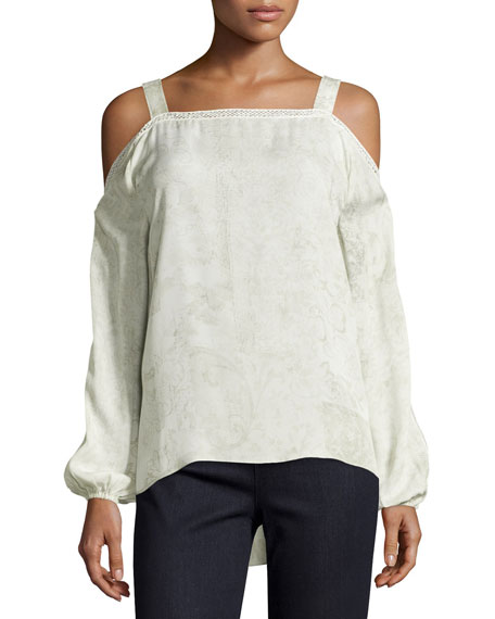 Elie Tahari Lindy Cold-Shoulder Silk Blouse, Twine