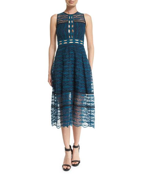 Jonathan SimkhaiMixed-Embroidery Sleeveless Midi Dress
