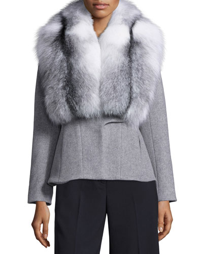Wool-Cashmere Coat w/Removable Fox Fur Collar