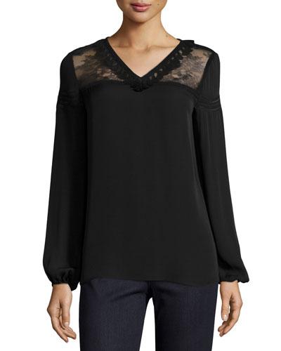 Phoebe Long-Sleeve Tasseled Lace-Yoke Silk Blouse, Black