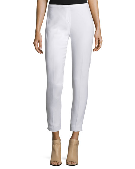 Marcia Skinny Stretch-Crepe Ankle Pants, Optic White