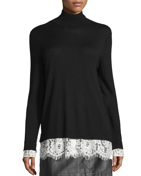 JoieFredrika Lace-Trim Mock-Neck Sweater