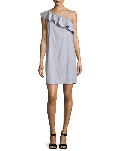 Alexandra One-Shoulder Ruffle Dress, Light Denim