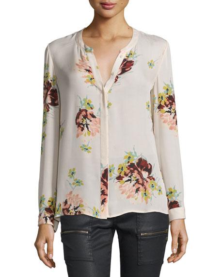 Devitri Floral-Print Silk Blouse