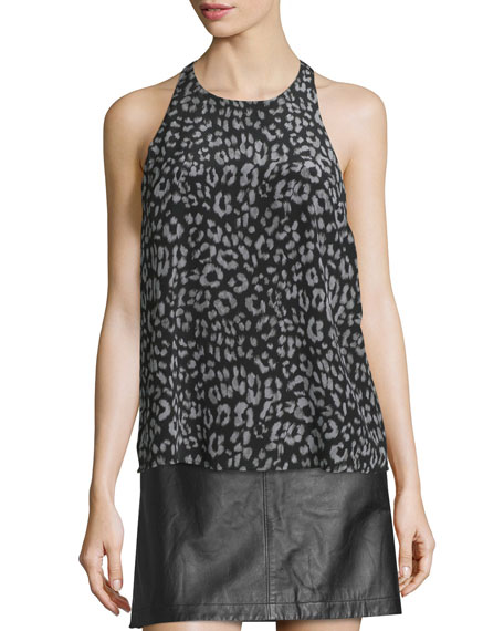 Joie Brighton Animal-Print Sleeveless Silk Top