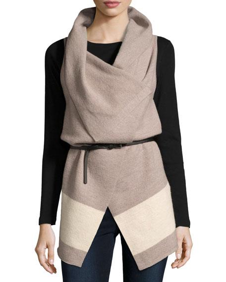 JoieLigere Colorblock Belted Wool Vest
