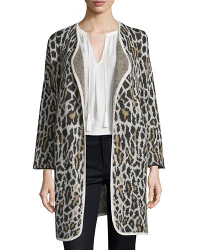 Berit Leopard-Print Jacquard Open-Front Jacket
