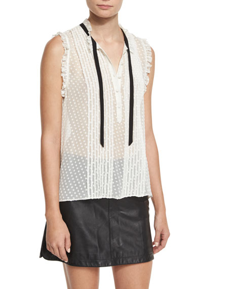 Joie Toledo Swiss Dot Sleeveless Blouse