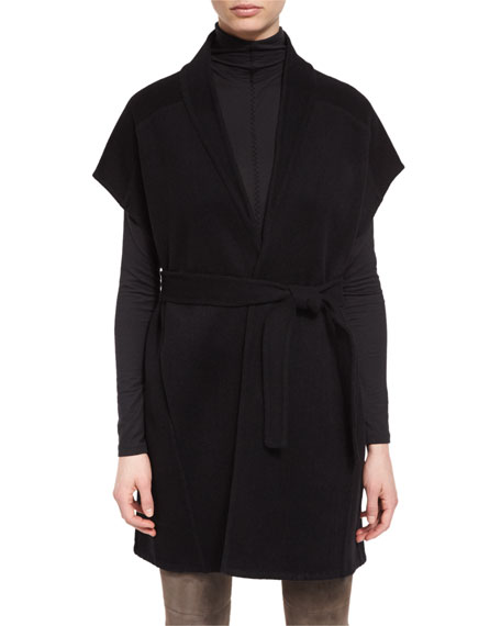 Elie Tahari Whitley Short-Sleeve Wool-Blend Wrap Coat, Cecil ...