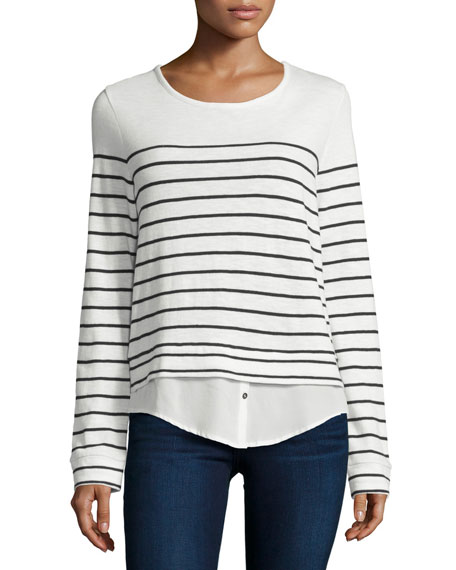 Lakelyn Mariner-Stripe Long-Sleeve Combo Top