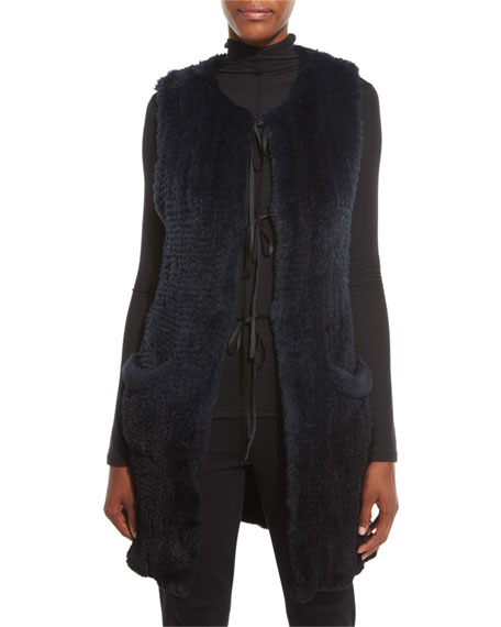 Elie Tahari Jill Long Ribbon-Tie Rabbit Fur Vest,
