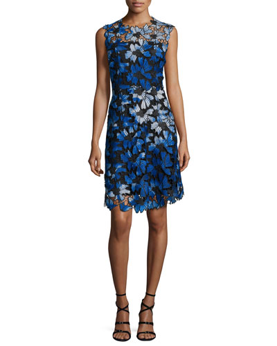 Kaisa Sleeveless Jewel-Neck Floral Lace Dress, Waterfall Multi