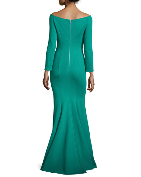 Off-the-Shoulder Ponte Mermaid Gown, Green