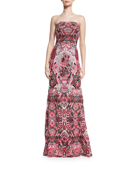Strapless Embellished Multipattern Gown, Pink