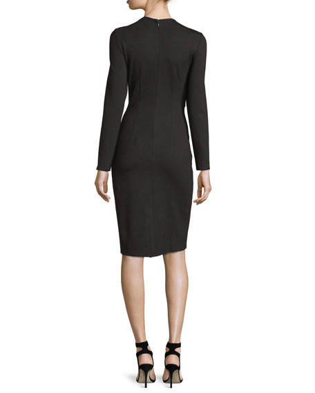 Laced Ponte Sheath Dress, Black