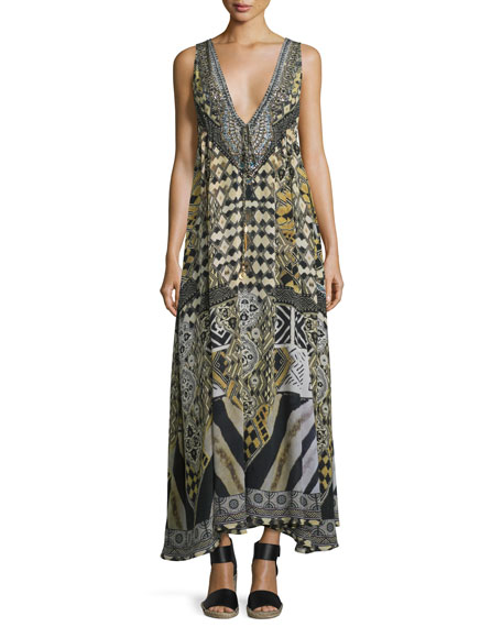 Camilla Embellished V-Neck Maxi Dress, Weave of the