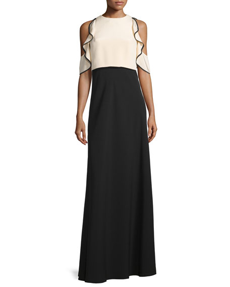 Cold-Shoulder Ruffle-Trim Gown, Bisque/Black