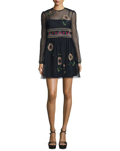 Long-Sleeve Floral-Embroidered Point D'Esprit Dress, Navy