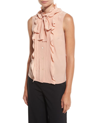 Sleeveless Pintucked & Ruffled Tie-Neck Silk Blouse, Nude