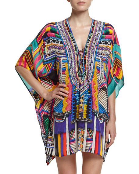 CamillaEmbellished Lace-Up Silk Caftan Coverup, Woven Wonderland
