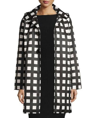 hooded check rain coat, Black/White